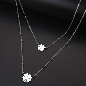 Acero Oro DOTIFI para las mujeres afortunado doble del trébol Cruz collar del acero y el color de plata regalo de la joyería
