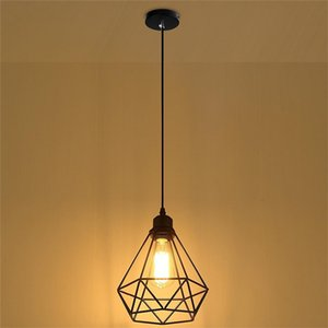 Nordic Vintage Cage Pendant Light Art Diamond Pyramid Wrought Iron Indoor Ceiling Chandelier for Bedroom Bedside Corridor