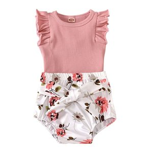 New 0-18M Summer Toddler Baby Girls Boys Clothes Sets Solid Print Sleeveless Floral Romper Tops Shorts2