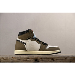 Mens Travis Scotts X 1 Shoes Casual Low OG SP TS escuro Mocha alta qualidade superior de couro retro Trainers Cactus Jack 1s Chaussure Masculino