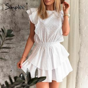 Simplee Zarif yaka fırfır bohem elbise kadınlar Yüksek bel kolsuz seksi dantel elbise kadın Casual beyaz bayanlar mini elbise