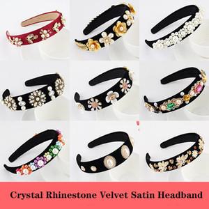 Аксессуары для волос Jeweled Pearl Hairband для женщин девушка Кристалл Rhinestone ободок Элегантного Velvet сатин стяжка 24 стилей