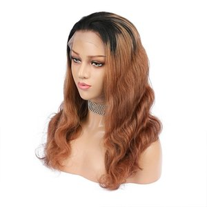 Ombre Blonde Color 13x6 Deep Part Lace Front Human Hair Wigs Body Wave Pre Plucked Remy Glueless Full Black End For Women
