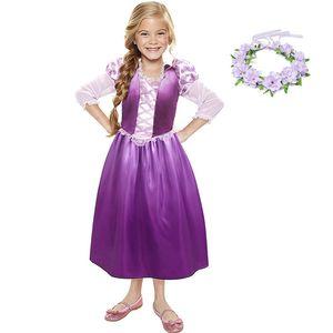 YOFEEL Girls Rapunzel Princess Cosplay Costume Kids Dress up Clothes Petal Sleeve Tangled Children Summer Party Halloween Dress