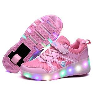 PKSAQ enfants LED chaussures à roulettes lumière pour les garçons fille enfants lumineux lumière baskets de skate up avec roues enfants roulettes chaussures de patins