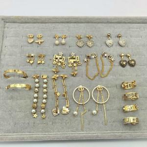 2020CD signore serie di lusso di design in argento 925 pin orecchini femminili nuovi orecchini di diamanti con la lettera D logo