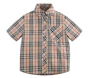estilo de lapela xadrez britânico camisa de manga curta ensino médio desgaste do verão das crianças de 2020 Novos garotos