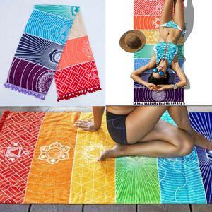 Rainbow Beach Mat Mandala Blanket Wall Hanging Tapestry Stripe Towel Yoga