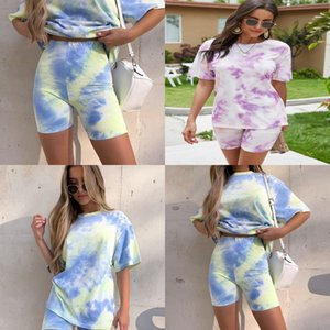 And The United States Style Ultra-Flexible Fashion Women Two 1Pcs Pants Colorful Flower Cotton Suits Tight-Fitting Sports Suits#340