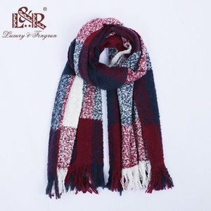 2018 Winter Scarves For Women Classic Patchwork Scarf Women Tassel Blanket Cashmere Scarf For Ladies Warm Shawls Stoles 9bDG#