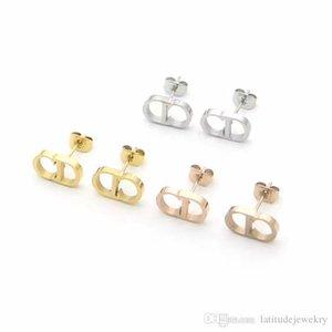 luxury designer women stud letter D designer earrings elegant high-end retro gold silver stud earrings couple fashion jewelry
