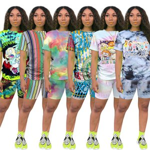 2020 Summer Women Short Sleeve O-Neck tie-dyed Tee Top Pencil Shorts Suits Two Piece Set Sporty Active Tracksuit Outfit