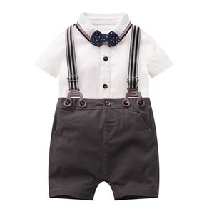 2020 Summer Baby Gentleman Suit Thin Childrens Clothing Romper Baby Gentlemans Clothing Bow Tie Romper Short-Sleeved Dress