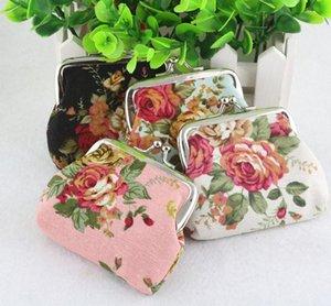 Abera 2020 porte-monnaie en tissu de coton femmes de style vintage grand rose imprimé portefeuilles porte-clefs cadeaux de fête pour les filles 8pcs / lot