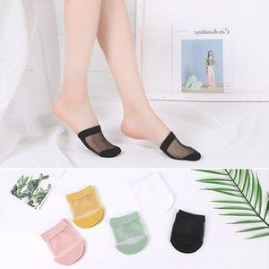 women's low-top shallow thin high-heeled High heel cotton socks shoes transparent cotton bottom Crystal Silk front half Palm socks