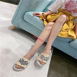 hococal New fisherman's rhinestone slippers with shiny crystal diamond Summer Luxury Designer Beach Indoor slippers
