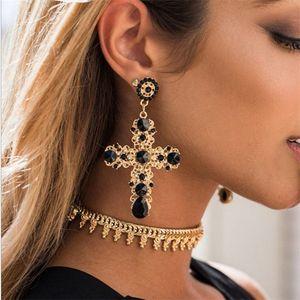 Vintage Black Red Blue Crystal Hollow Out Cross Drop Earrings For Women Bohemian Large Long Dangle Earrings Jewelry Gifts