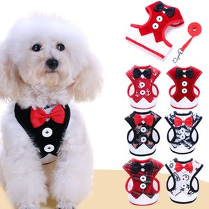 Dog Apparel New Small Dog Evening Dress Bowknot Waistcoat Harness Leashes Set Walking Dog Pet Supplies free shipping BY DHL