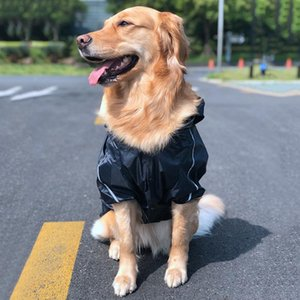 Dog Reflective Raincoat Clothes Waterproof Rain Jumpsuit For Big Medium Small Dogs Golden Retriever Outdoor Pet Clothing Coat T200328