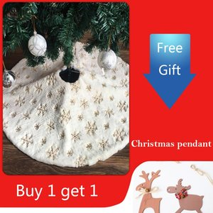 90cm 122cm Christmas Tree Skirt with Embroidered Snowflake Home Party Decor Christmas party decorations Tree ornament