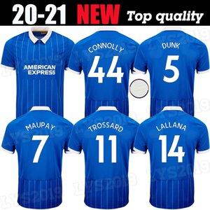 호브 알비온 축구 유니폼 2020 2021 MAUPAY TROSSARD 코놀리 MURRAY 성인 키트 망 (20) (21) 축구 셔츠 홈 블루