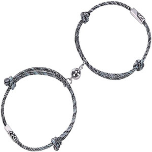 Mutual Attraction rope braided distance couple magnetic bracelet friendship lover Vows of Eternal Love Silver Pendants with Magnetic Bells