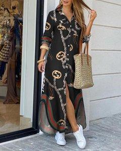 Chegada Nova Womens Chain of Printing Uma peça Suit lapela Long Neck Sleeve Street Style vestidos soltos Shirt Saia Tamanho S-2XL