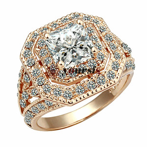 Yoursfs Ruby Ring for Women Big Zircon CZ Zirconia Stone Rings for Women Engagement Jewelry Gift