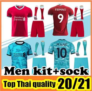 2020 2021 Взрослый комплект футбол Джерси дома Red Away Синяя рубашка 20 21 Мужская футбольная форма комплект + носки