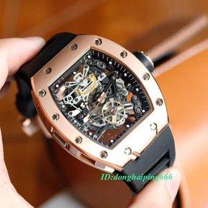 높은 버전 RM 38-01 해골 다이얼 일본 미요 자동 RM38-01 남성 시계 로즈 골드 스틸 케이스 블랙 러버 스트랩 디자이너 스포츠 시계