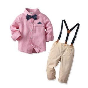 Newborn Baby Gentleman Costume Striped Long Sleeved Shirt Denim Pants Overalls Set Two Pieces Spring Autum Fashion Formal Infant