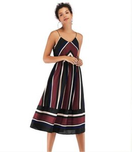 Women Sexy V Neck Dresses Ladies Designer Striped Printed Dress Casual Female Chiffon Dress