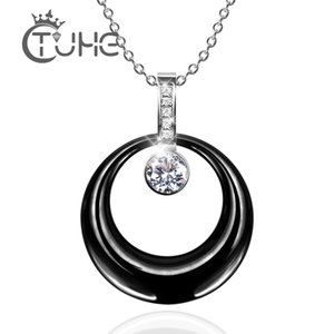 2020 New Stainless Steel Silver Color Fashion Pendant Necklaces Wedding Big CZ Crystal Ceramic Necklace Chain Jewelry Wholesale