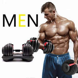 Adjustable Dumbbell 5-52.5lbs exercícios de fitness halteres de peso Desenvolver tonificar os músculos força Outdoor Equipamento Desportivo Em armazém