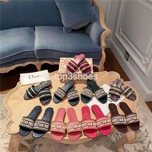 Christian dior slides Oblique slippers дизайнера Женщина Слайды MULTICOLOR DWAY мул ВЫШИТОЙ COTTON SLIDE женщины конструктора плоские сандалии женщин способ тапочка BIG SIZE 35-42