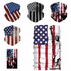 ABD STOK Bisiklet Maskeler Eşarp Unisex Bandana Motosiklet Eşarplar Başörtüsü Boyun Yüz Açık ABD Bayrağı Sihirli Eşarplar CPA1140 Maske