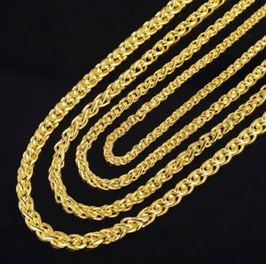 2019 New Fashion 3.5mm 4mm 5mm 6mm 50cm 20inch 925 Silver 18K Gold Plated Necklace Men's Necklace Twisted Necklace Jewelry