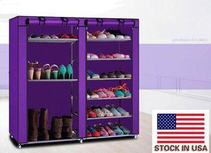 Make Up Organizer Storage Shoe Storage Double Rows 9 Lattices Combination Style Shoe Cabinet Purple USA Fast Shipping