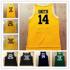 14 Will Smith 25 Carlton Banks The Fresh Prince of Bel Air Academy Filme Basketball costurado Jerseys verde amarelo preto