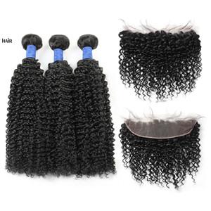 Brasiliano peruviano malese indiano capelli vergini viziosi ricci 3 pacchi con 13x4 pizzo chiusura frontale 10a estensioni dei capelli umani di grado