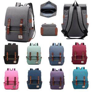 Le donne Mens Vintage Laptop Backpack zaino College School Racksack Adatto 15 pollici Computer Notebook Bag Tracolla Bookbag Satchel
