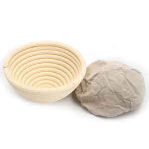 Çıkarılabilir astarlı Doğal Rattan Basket kanıtlanması 5inch Yuvarlak Banneton Brotform Cane Bowl Şekli Ekmek Hamur Dinlendirme