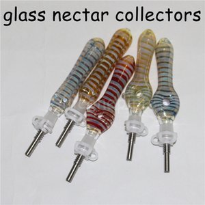 1pc tubos kit coletor de mel dab palha mini-néctar de vidro de vidro tubos de água bong titânio tubo de vidro de fumar / litros dicas Dab plataformas petrolíferas