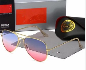 Best Selling ray Fashion Sunglasses Golden Green Round Metal Frame 50mm Glass Lenses Sun Glasses Excellent box