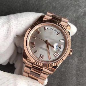 mens calientes de la venta del reloj de oro rosa de 18 quilates de oro rosa para hombre original broche Día mira blanco cara Presidente 116-719 Mens relojes automáticos