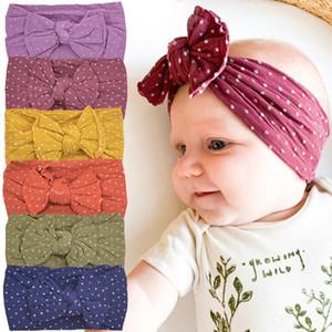 Bebek Kafa Kız Saç Bow Bantlar Naylon Headwrap Bebek Dot Başkanı Band Yenidoğan Geniş Turban Bebek Elastik Yumuşak Hairband