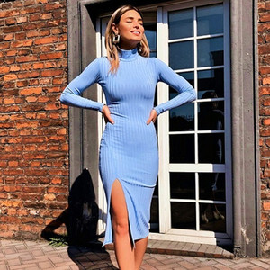 Sexy Knee-Length Party Dresses Ribbed Knitted Bodycon Dress Turtleneck Solid Split Long Sleeve Spring Autumn Elegant Dress High Quality