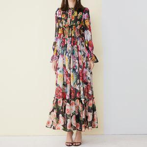 High Quality 2019 New Fashion Maxi Dress Women's Long Sleeve Amazing Printed Waist Elasticated Vintage Beach Chiffon Long Dr
