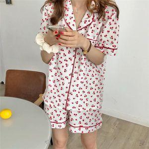 2pcs Summer Sleepwears Woman Lapel Neck Pocket Tshirts With Short Suits Women Cute Fashion Underwears Womens Cherry