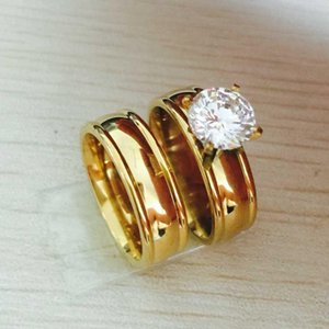 Never fade 6mm 18K gold plated big zircon CZ diamond couple ring set Wedding Band stainless steel lovers Ring for Women